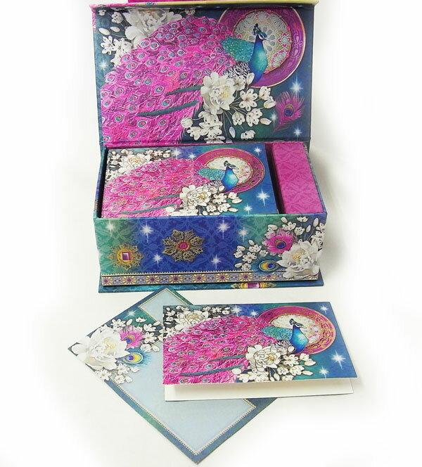 [Punch Studio]オルゴールカードセットBOXピーコック&ホワイトピオニー 10枚セット孔雀