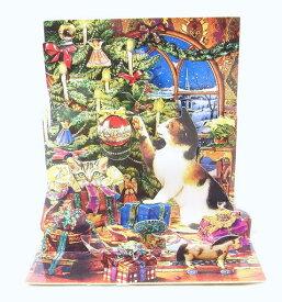 ポップアップ クリスマスカード クリスマスのいたずら猫・ネコ・ねこ・キャット・CAT[Up With Paper]立体クリスマスカードポップアップカード