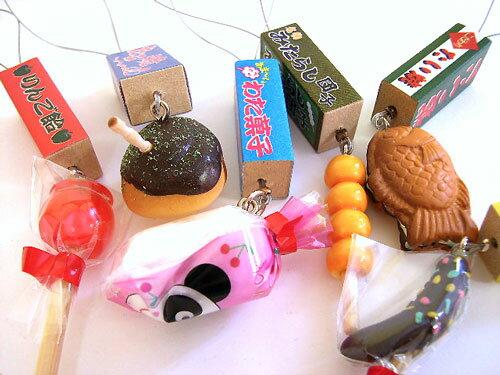 携帯ストラップ お祭りりんご飴・たこ焼・わた菓子・たい焼みたらしだんご・チョコバナナ