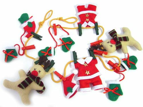 フェルトガーランド サンタの洗濯物クリスマス