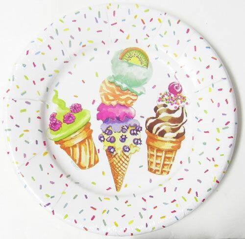 紙製 丸型プレート アイスクリーム パーティーCaspariカスパリ紙皿・皿・食器・パーティー・ペーパープレート