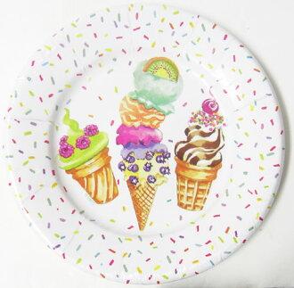 纸制造圆形铭牌冰激凌派对Caspari渣滓巴黎纸盘子、盘子、餐具、派对·纸铭牌