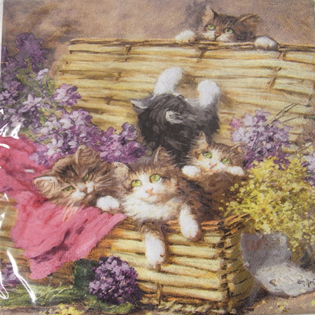#13ペーパーナプキン[メール便OK]プレイングキティ[Nuova]ペーパーナフキン・紙ナプキン・デコパージュ猫・ねこ・キャットローズ・バラ・薔薇・花柄