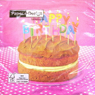 Paper Napkin Lunch Size Birthday Cake Ten Pieces PAPER DESIGN Pink HAPPY BIRTHDAY Candle Hall Up