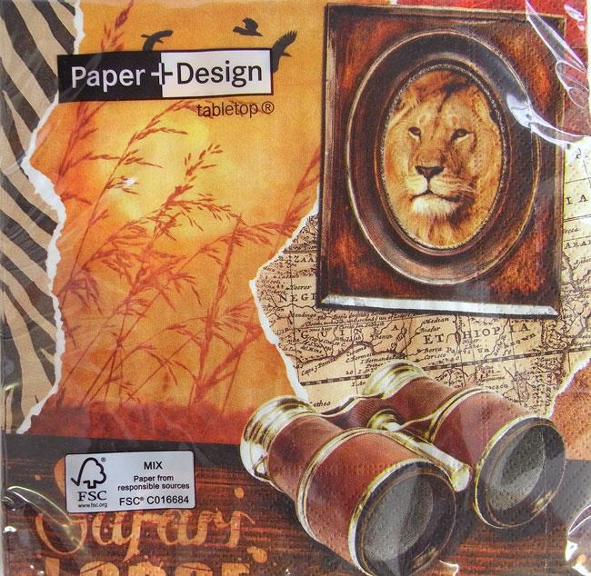 ペーパーナプキン[メール便OK]ランチサイズ サファリ ライオン 10枚入り [Paper+Design]ペーパーデザイン紙ナプキン・デコパージュ