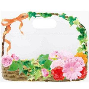 10枚 日本製 ジップ付きビニールバッグ おすそわけ袋 フォトフラワー 花かご赤コジット ジップバッグ ジップロックお菓子保存 小分け 収納 おすそ分け ラッピング