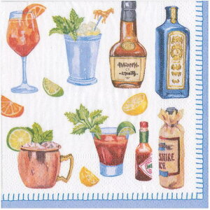 10枚ペーパーナプキン カクテルサイズ HAPPYアワー Caspari カスパリ ランチサイズ ビール瓶・ボトル柄 レモン ライム トマトジュース タバスコ ウイスキー カクテル
