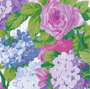 10枚ペーパーナプキン イングリッシュチンツ 紫陽花ローズ English Chints Caspari カスパリ ランチサイズ あじさい・アジサイ・バラ・薔薇