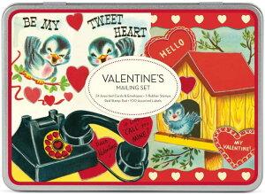 限定メーリングセット バレンタイン 小鳥と電話 Cavallini カヴァリーニ お手紙セットカード・封筒・スタンプ・ステッカー・シール・スタンプパッド