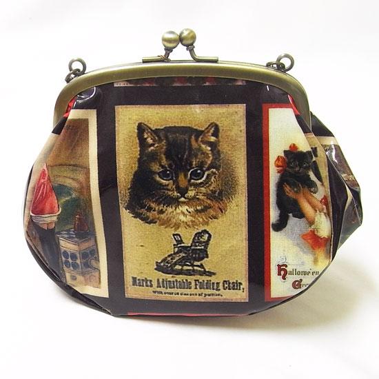 猫 チェーン付きがま口金ポーチ[猫グッズ 猫雑貨]買い物バッグ・エコバッグ・財布[LA LUICE]キャット・ねこ・ネコ・CAT