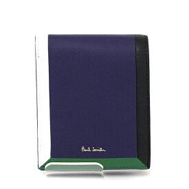 ポールスミス Paul Smith 2つ折り財布 PSC316 メンズ ネイビー グリーン ブラック ホワイト【未使用品】難あり