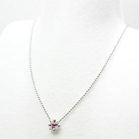 スタージュエリー STAR JEWELRY K18WG ルビー デザインネックレス ルビー/ダイヤモンド(0.04ct) 約40cm ホワイトゴールド 花 フラワー 仕上げ済 【中古】