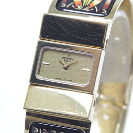 HERMES エルメス レディース腕時計 ロケ バングルウォッチ LO1.210 GP/七宝 ゴールド文字盤 クォーツ【中古】