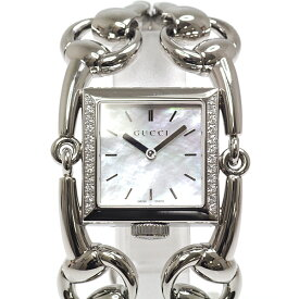 GUCCI グッチ レディース腕時計 シニョーリア 116.3 ホワイトシェル文字盤 ベゼルダイヤ クォーツ【中古】