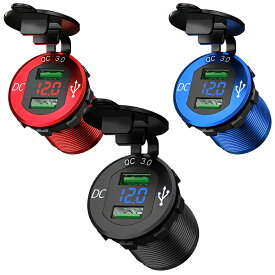 Kaedear(カエディア) バイク USB 電源 急速 充電 デュアル 2 ポート 充電器 アルミ製 QC3.0 電圧計 12V-24V DC12V 車/バイク/オートバイ/ボート/マリン/RV/トラック/ゴルフカート/ATV/SUV