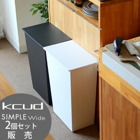 【2個セット】 クード ゴミ箱 kcud シンプル ワイド SIMPLE WIDE おしゃれ ふた付き 横型 分別 ワイド キッチン 岩谷マテリアル アッシュコンセプト 北欧 45リットル ゴミ袋対応 キャスター