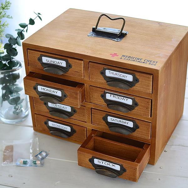 救急箱 おしゃれ 木製 かわいい 薬箱 薬ケース セット 薬入れ メディシンチェスト お薬 小物入れ メディスンボックス