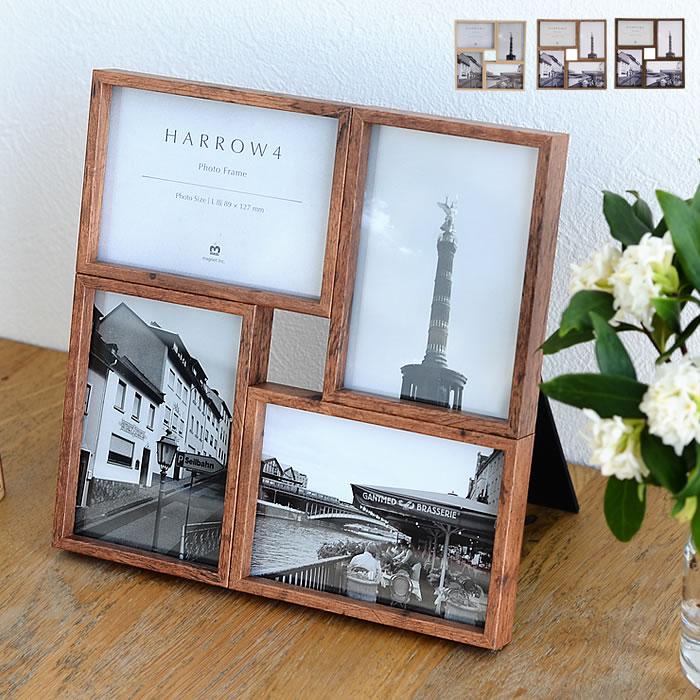 【よりどり送料無料】 ハロウ 4 フォトフレーム 壁掛け 置き型 プレゼント 複数 写真立て 木製 北欧 L版 4枚 おしゃれ
