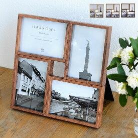 ハロウ 4 フォトフレーム 壁掛け 置き型 プレゼント 複数 写真立て 木製 北欧 L版 4枚 おしゃれ ギフト かわいい