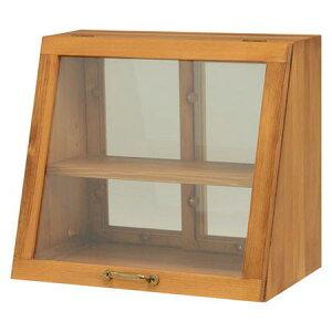 キッチンカウンター上両面ガラス戸ケース幅40cm高さ35cmナチュラルMUD-6066NA★