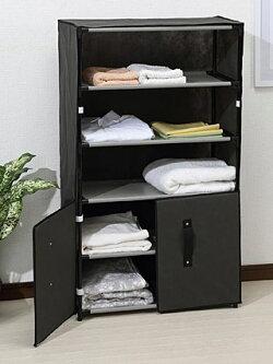 超軽量・衣料衣類衣服の収納、棚、ラック、タオルラック(不織布)(扉付き)(Mサイズ):h5275ir-d
