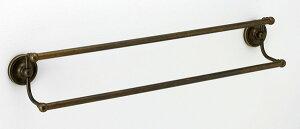 タオルハンガー 幅68 全幅75.2cm タオル掛け タオルバー タオルかけ タオルレール 壁 アイアン 真鍮 アンティーク レトロ おしゃれ 北欧 トイレ 洗面所 キッチン 古色 仕上げ ツイン 2段 バスタ