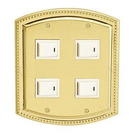 金物 金属 真鍮 真ちゅう スイッチ スイッチプレート スイッチカバー カバー コンセント プレート コンセントプレート コンセントカバー DIY 高品質 おしゃれ アンティーク レトロ デザイン (2連4口、ゴールド仕上げ):g-7g9008k5
