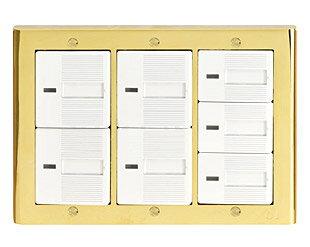 金属 真鍮 真ちゅう スイッチ スイッチプレート スイッチカバー カバー コンセント プレート コンセントプレート コンセントカバー DIY 高品質 おしゃれ アンティーク レトロ デザイン (コスモスイッチ・タイプ、ワイドタイプ、3連7口、ゴールド仕上げ):g-7g9020k3