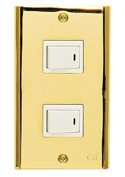 スイッチプレート、スイッチカバー、コンセントプレート、コンセントカバー(1連2口、真鍮ゴールド仕上げ):g-7g9007k2