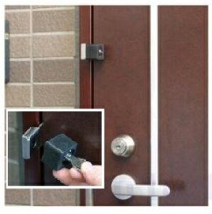 補助錠 玄関 勝手口 倉庫 車庫など扉の防犯 らくらくロック 【鍵2本付】 カギ 穴あけ加工無し
