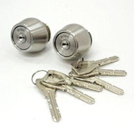 PRシリンダー2個同一【MIWA-LSP(TE24)タイプ交換シリンダー】シルバー色 鍵 交換