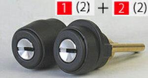 ALPHA FBロック 3690・2190 玄関 鍵(カギ) 交換 取替え用シリンダー※色はブラックです■標準キー5本付き■【送料無料】