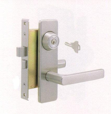 GOAL TXの刻印のレバーハンドル内外、シリンダー、部屋内のサムターン、ドアの中に入っている錠ケース丸ごと一式の交換シルバー色■キー3本付き、ドア厚み30〜42mm、バックセット51mmタイプ