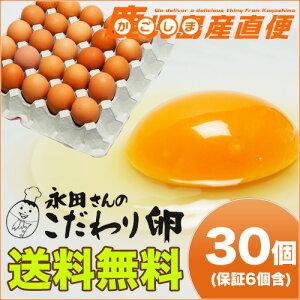 送料無料 永田さんのこだわり卵 30個(破損補償 6個含む) クール便 業務用 九州 鹿児島県産 たまご ギフト