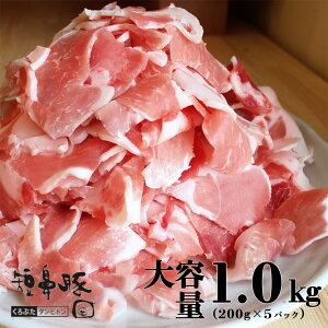 【送料無料】黒豚 切り落とし メガ盛り 1.0kg(200g×5パック)【豚肉 豚 切落し 豚コマ 鹿児島黒豚 肉 九州 短鼻豚 こま切れ 細切れ 豚小間 小分け スライス 豚肉 お肉 料理用 調理用  美味しい 絶