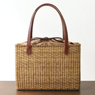 Toyooka Willow Willow crafted Willow basket bag (domestic / square / Willow dyed / persimmon juice dyeing DrawString / cotton uchinuno, medium-size Pocket) (approx.) width 34 X gusset X 10 body height 24.5 cm 460 g (approx.)