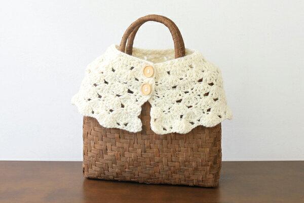 毛糸のぬくもりウォーマー(アイボリー/定番型・小サイズ用)ネックウォーマーとしても使えます。(約)最大横63×縦15cm※かごバッグは付きません。