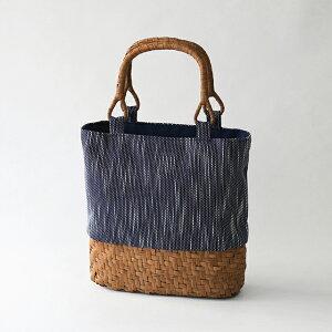手作りキット藍染刺子織とやまぶどう籠で作るトートバッグ[セット内容]藍染刺子染 スラブ(表布)・シーチング(裏布)・やまぶどう下かご 楕円 幅約24cm・やまぶどうU字取手・説明書[遠州正藍