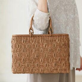 連続桝網代編みやまぶどう籠(国産材/ひご幅約6〜7mm/リング取手/横長/中サイズ)(約)幅35×マチ9×本体高さ24cm(約)550g ※手作りの為、ひご幅は多少の誤差がございます。ご了承ください。[かごバッグ 鞄 山葡萄]