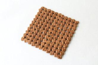 산포도 냄비 받침(돌층계 짜/2번가죽) ( 약) 18×18×두께 0.8 cm [포트 매트・포트 스탠드・테이블 코디네이터]