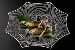 手編みクリアライトシルバー盛りかご 八角型(約)最大幅35×高さ5cm[テーブルコーディネート・テーブルウェア]