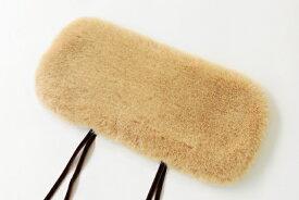 ファーのふた(クリームベージュ/ベルベットリボン)小サイズの籠 商品番号7951、7951kf、8250、8068、8354 に合います。(約)長さ36×幅17cm (約)紐長さ27cm※かごバッグは付きません。[バッグカバー/高野口パイル織物]