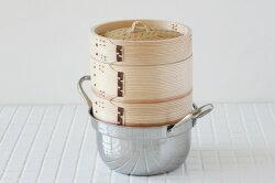 杉中華せいろ15.5cmステンレス鍋セット[IH対応ステンレス鍋・せいろ本体2・ふた1][蒸篭(セイロ)/蒸し器]