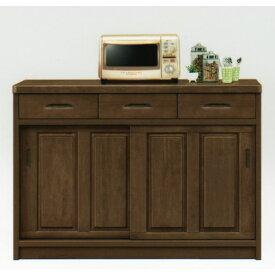 キッチンカウンター 120 カウンター ダークブラウン キッチン収納キャビネット 台所収納 レンジ台 木製 完成品 北欧 大川家具 日本製 アウトレット価格並