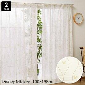 【代引不可】カーテン レース 100×198 2枚組 ディズニー ミッキー 北欧風 ナチュラル リビング 寝室 子供部屋 キッズルーム おしゃれ かわいい/ ディズニーミッキー レースカーテン 2枚 100×198cm