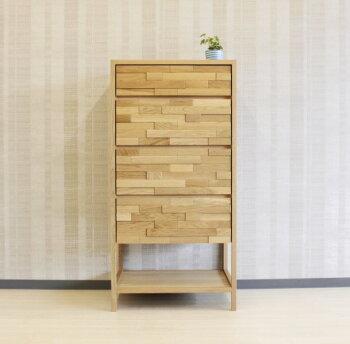 天然木ナラ無垢材のハイチェスト・整理たんす・ホワイトオーク材国産・日本製・木製・自然塗装オイル仕上・エコ仕様レグナテック