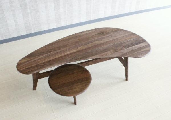 天然木ウォールナット総無垢材使用のセンターテーブル130cm木製・岩倉榮利氏プロデュースのインポート商品GREENグリーンyuzu rosemaryシリーズ商品セラウッド塗装