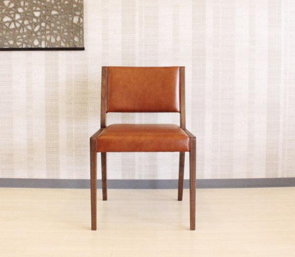 天然木ウォールナット無垢材本革張りチェアーオーク材セラウッド塗装ダイニングチェアー皮張りGREENシリーズ岩倉榮利氏デザイン食卓椅子・木製・肘掛椅子有り