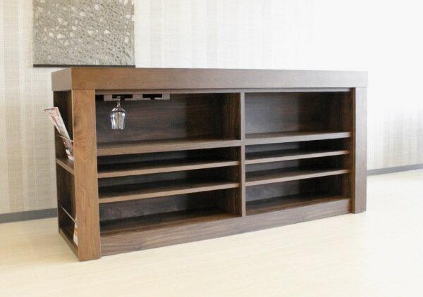 天然木ウォールナット材を使用した木製カウンター国産キッチンカウンター/ハイカウンター/バーカウンター日本製ツートン・天板ブラック黒グラスホルダー160・180cm