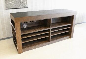 キッチンカウンター/バーカウンター/ハイカウンター/アイランド型・天然木ウォールナット国産木製キャビネット